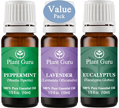 Plant Guru Beginner's Trio Essential Oil Set. 100% Pure Therapeutic Grade 10 ml. Set Includes: Eucalyptus, Lavender, Peppermint.