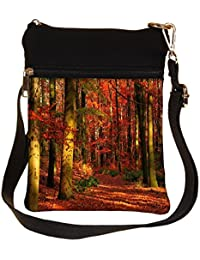 Snoogg Red Blossom Forest Cross Body Tote Bag / Shoulder Sling Carry Bag