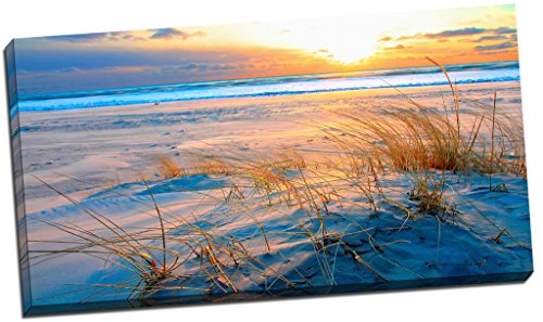 sunset-on-sand-beach-scene-canvas-print-picture-wall-art-large-30x16-inches