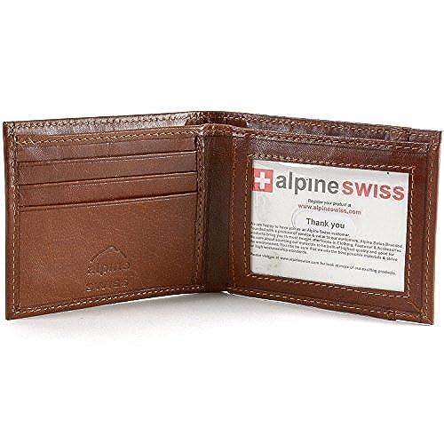 11. Alpine Swiss Men's Genuine Leather Thin Slimfold Wallet