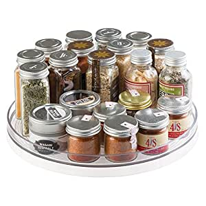 Mdesign lazy susan turntable spice organizer for kitchen pantry cabinet - Spice rack for lazy susan cabinet ...