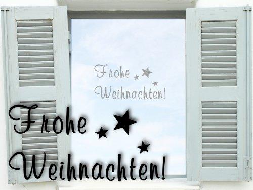 """Fenstertattoo """"Frohe Weihnachten"""" Weihnachtsdekoration - selbstklebend mit Sternen glas080 Aufkleber für Fenster, Glastür und Duschtür, Badezimmer Glasdekor Fensterbild, wasserfeste Glasdekorfolie in Sandstrahl - Milchglas Optik (S- 25x12 cm)"""