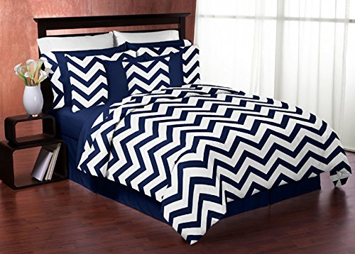 Navy Blue and White Chevron