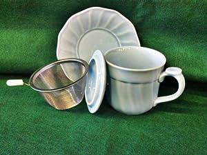 4 Piece Tea Set Mug with Lid, Saucer, and Tea Infuser from GANZ