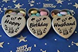 Happy Birthday Husband Gift. Set of 3 Silver Mini Heart Tins Filled With Chocolate Dragees. Perfect Birthday Gift Present .Tin size 45mm x 45mm x20mm. (Husband)