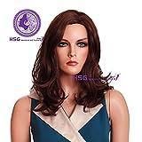 Hsg Fashion Women Medium Long Auburn Carve Shoulder Wig