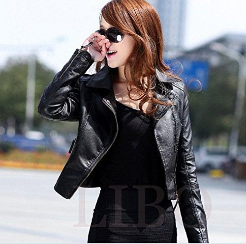 Gaorui Women's Vintage Slim Biker Motorcycle PU Soft Leather Zipper Jacket Coat 4