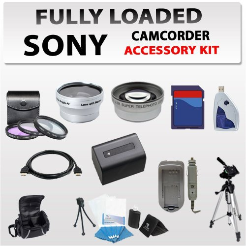 Ultimate Accessory Kit for Sony HDR-PJ10, HDR-CX560, HDR-CX700, HDR-XR160, Hdr-cx130, Hdr-cx160, Hdr-xr550v, Hdr-xr500 Camcorders Including 3 Extra Lens, 8gb Sdhc Memory Card, Card Reader, Extended Life Battery + Charger, Case, Tripod and More !!!