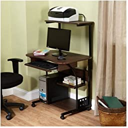 Mobile Computer Tower with Shelf /color:,Espresso/Model: 50163BLK
