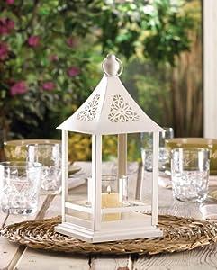 10 white candle holder lanterns wedding table for Amazon wedding decorations