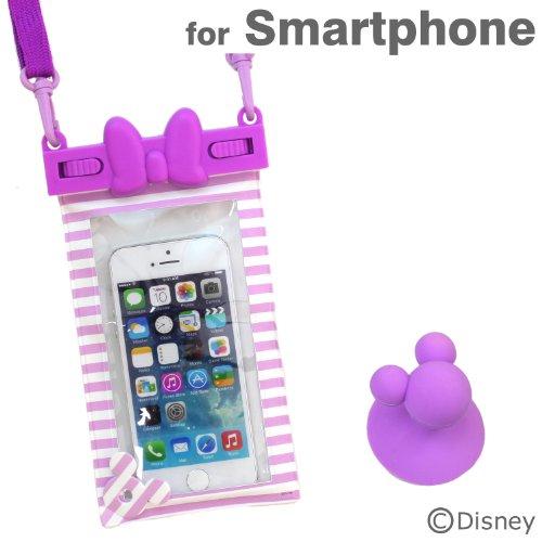 ディズニー 防水ケース キャラクター スマホ カバー 各種 スマートフォン 対応 / iPhone5 / iPhone5s / iPhone5c / iPod / Disney Mobile / Xperia Z1f / Xperia A / Galaxy S4 / デイジー リボン パープル ストライプ