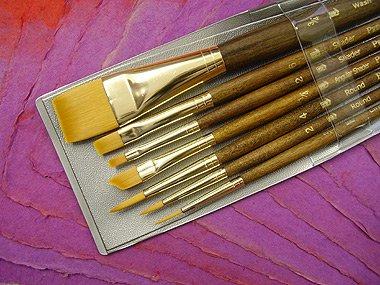 P Brush Princeton Series 9000 Brown Handled Brush, Set of 7