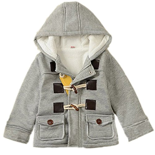 GetUBacK Baby Boy's Hooded Fleece Coat Winter Outwear 24M Grey