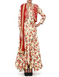Cream Anarkali Suit Enhanced In Red Embroidered Jacket
