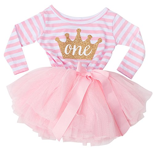 NNJXD Girl Shinny Stripe Baby Girl Long Sleeve Printed Tutu Dress Gold&Light Pink 10-12 Months