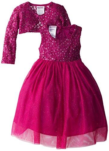 Blueberi Boulevard Little Girls' Sparkle Glitter Tulle Occasion Dress, Cerise, 3T