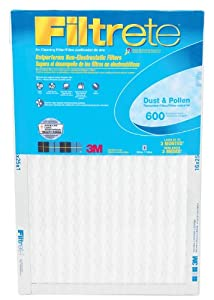 """3m Reduction Filter Electrostatic 16 """" X 25 """" X 1 """" Pleated 600 Mpr Washable"""