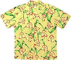 Orchid Panel - Hawaiian Shirt in Yellow - M