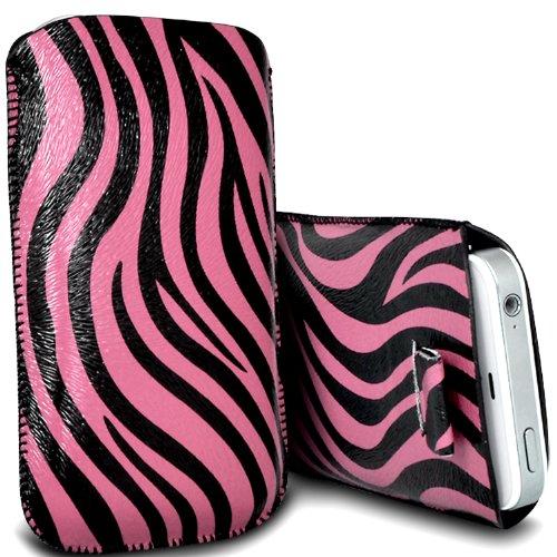 Nokia Lumia 610 Premium Schutzfolie Zebra PU Leather Pull Tab Kabel rutscht in der Tasche Tasche Skin Cover Quick Release Fall Rosa & Schwarz von Spyrox