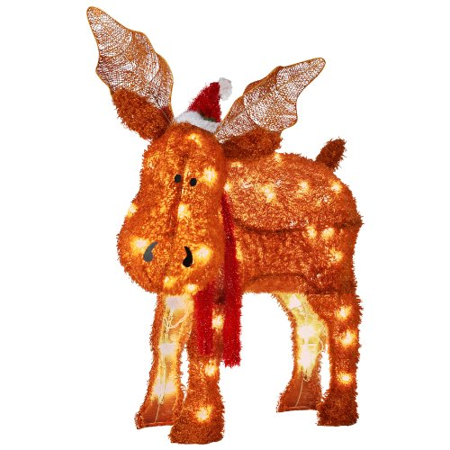 gemmy fuzzyplus moose outdoor christmas decoration with led white lights