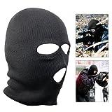 Tinxs Black Balaclava Mask 3 Holes Winter SAS Style Ski Hat Neck Warmer Halloween
