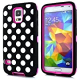 Sean® Polka Dot Hybrid Protective Case with Combo Defender Shockproof Function for Samsung Galaxy S5 I9600 (Rose)