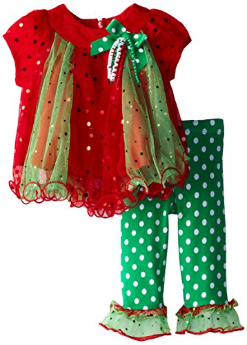 Bonnie Baby Baby-Girls Newborn Spangle Mesh Trapeze Legging Set, Green, 0-3 Months front-1051111