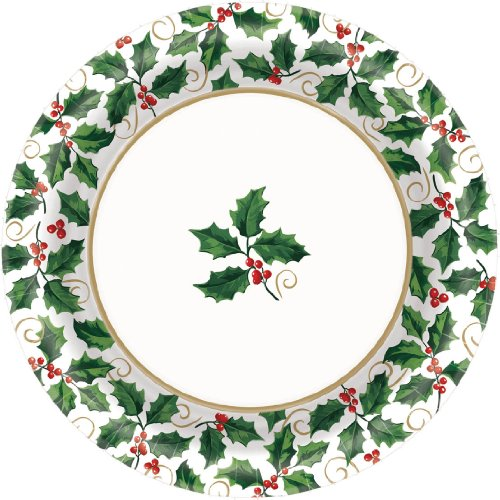 Seasonal Holly Dinner Plates (40ct)