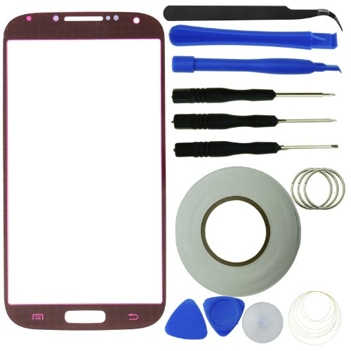 Samsung Galaxy S4 Screen Replacement Kit Including 1 Replacement Screen Glass For Samsung Galaxy S4 I9500 / 1 Pair Of Tweezers / 1 Roll Of 2Mm Adhesive Tape / 1 Tool Kit / 1 Eco-Fused Microfiber Cleaning Cloth (Red) front-55958