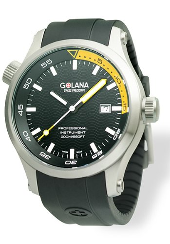 Golana Aqua Pro Black Swiss Made Divers Men's Watch AQ100-8