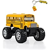 Yellow Monster School Bus Big Wheel Die Cast Pull Back Plus Bus Keychain Gift