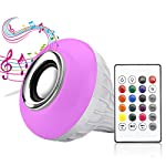 LED Music Light Bulb, E27 led light bulb with Bluetooth Speaker RGB Changing Color Lamp Built-in Audio Speaker with Remote Control for Home, Bedroom, Living Room, Party Decoration