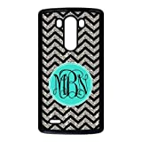 Monogram Personalized Black Grey Turquoise Chevron Pattern (NOT ACTUAL GLITTER)LG G3 Best Durable Plastic Cover Case
