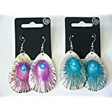 Purple Peacock Oval Shell Drop Earrings EA278