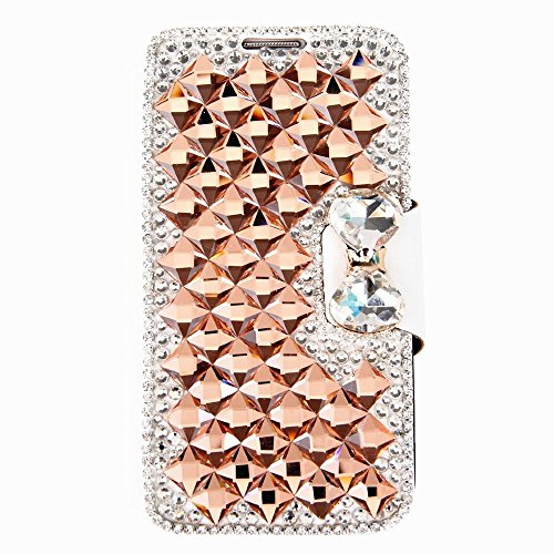 Vandot Accessory Sets 1X 3D Clear Crystal Transparent Rhinestone Leather For Apple Iphone 6 4.7 Inch Diamond Leather Rhinestone Bling Flip Case Glitter Book Wallet Case Cover Id Card Case Skin Shell Cell Phone Case - White Leatherette With Orange Diamond front-1005450