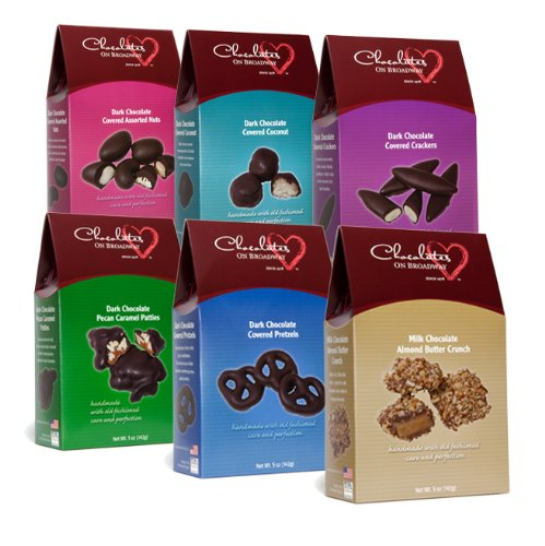 Chocolates on Broadway Dark Chocolate Variety Pack, 5-Ounce Boxes (Pack of 6)