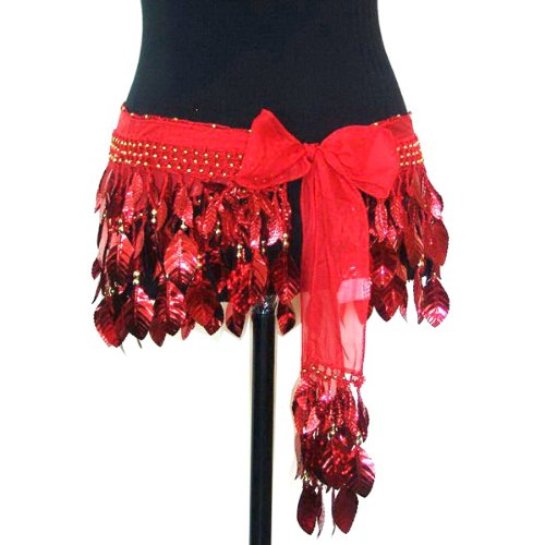 Belly Dance Silk Chiffon Shiny Leaf Hip Scarf Belt Wrap -- Red & Gold