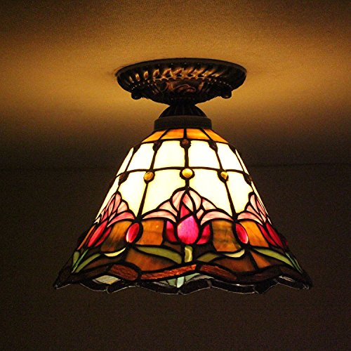 8-inch Vintage Pastoral Stained Glass Tiffany Flower Ceiling Light Living Room Chandelier Hallway Chandelier