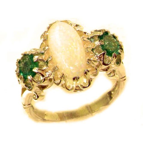 Large Luxury Solid 14K Yellow Gold Natural Opal & Vibrant Emerald Victorian Inspired Ring - Finger Sizes 5 to 12 Available - Perfect Gift for Birthday, Christmas, Valentines Day, Mothers Day, Mom, Mother, Grandmother, Daughter, Graduation, Bridesmaid.