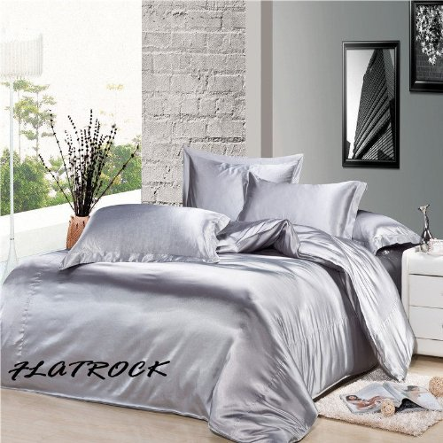 flatrock parure de lit complete en satin gris perle 6 pcs housse de couette 220 x 240 cm lit de. Black Bedroom Furniture Sets. Home Design Ideas