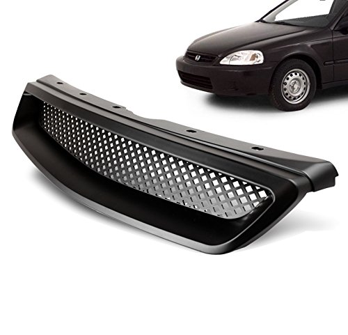 ZMAUTOPARTS Honda Civic JDM TypeR Upper Hood Mesh Grille Black CX DX EX GX Hx LX Si (2000 Honda Civic Ex Hood compare prices)