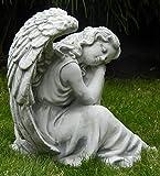 Beton-Figur-Engel-sitzend-und-schlafend-H-24-cm-Dekofigur-und-Gartenskulptur