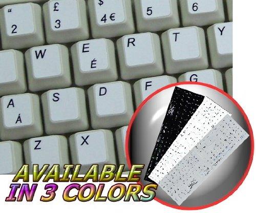 English Uk White Background Non-Transparent Keyboard Sticker With Additional Keys