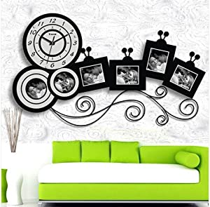horloge murale moderne design grand cuisine pendule photos cadre photo noir blanc. Black Bedroom Furniture Sets. Home Design Ideas