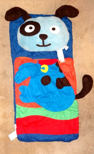 """Northpoint Kids Animal Fun Sleeping Bag & Pillow Set Blue-Puppy 18""""X22"""" front-825577"""