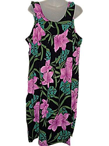 HAWAIIAN PINK ORCHIDS BLACK PLUS-SIZE SUMMER CRUISE DRESS (1X-2X) TC036