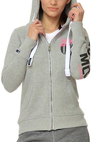 M.Conte Sweat-Shirt Sweater Rachel Donna Felpa con cappuccio Neve Grigio Taglia XL