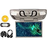"""New Ouku® 15.6"""" Inch Roof Mount Car DVD Player with TV FM Transmitter +Free Headphones (Gray Grey)"""