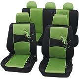 Cartrend 60222 Gecko Mesh Sitzbezug-Komplettset, Grün, mit Dokunaht
