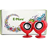 E-More 2 Pcs King Cute Little Love Mini Wave Desktop Laptop Multimedia Audio Speakers Mini Creative Speaker Small...